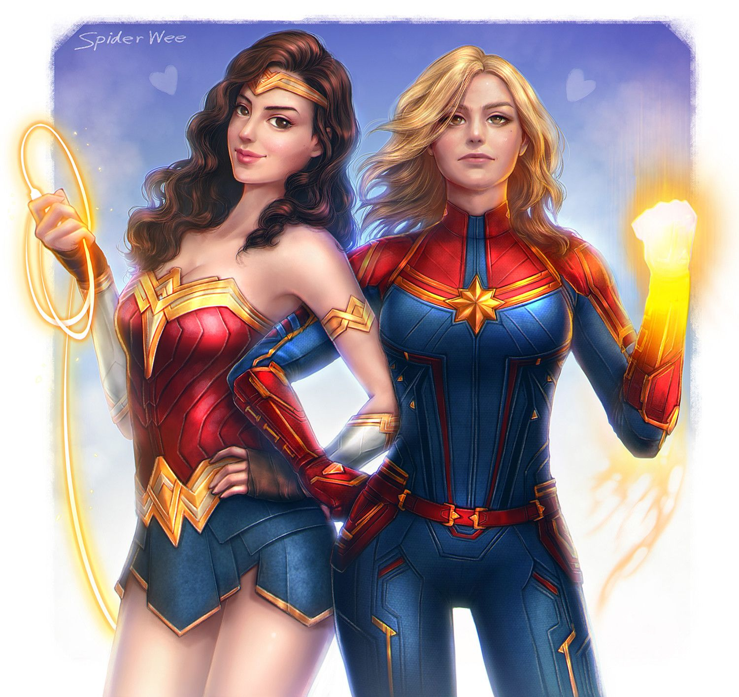 Wonder Woman and Captain Marvel by Spider Wee