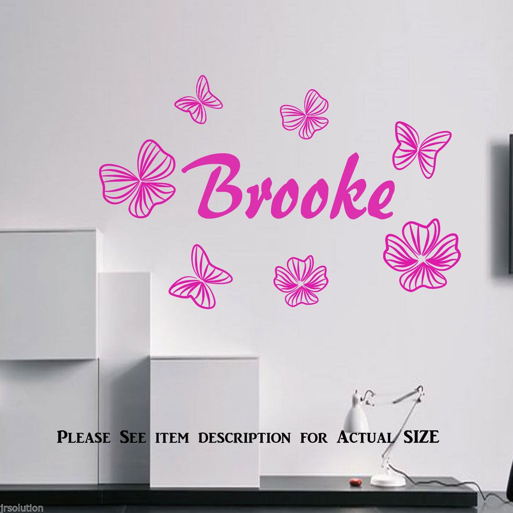 Personalized custom butterfly flower name vinyl decal sticker nursery wall decor