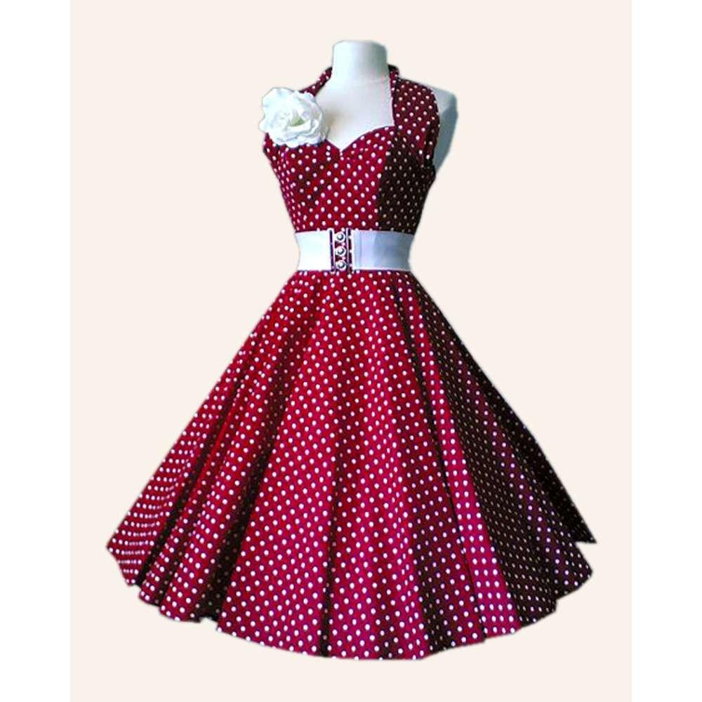 50s Halterneck Polka dot Dress from Vivien of Holloway ...