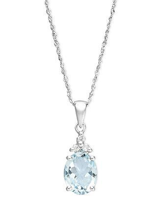 Fine Jewelry Genuine Aquamarine and Diamond-Accent 10K White Gold Swirl Pendant Necklace dHxDnlx