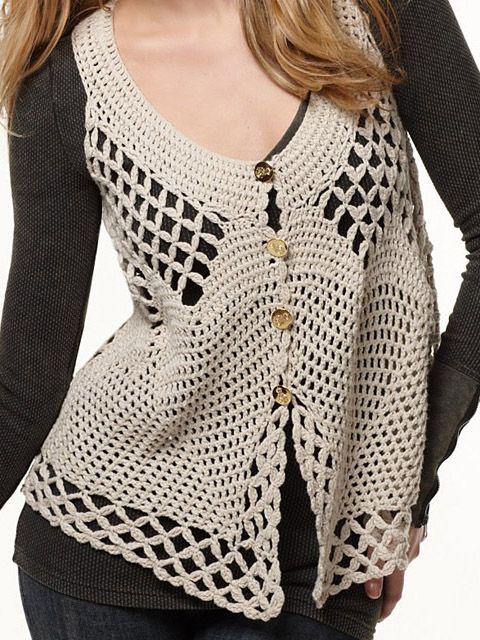 Delikli Krem Tığ İşi Yelek Modelleri #crochettunicpattern