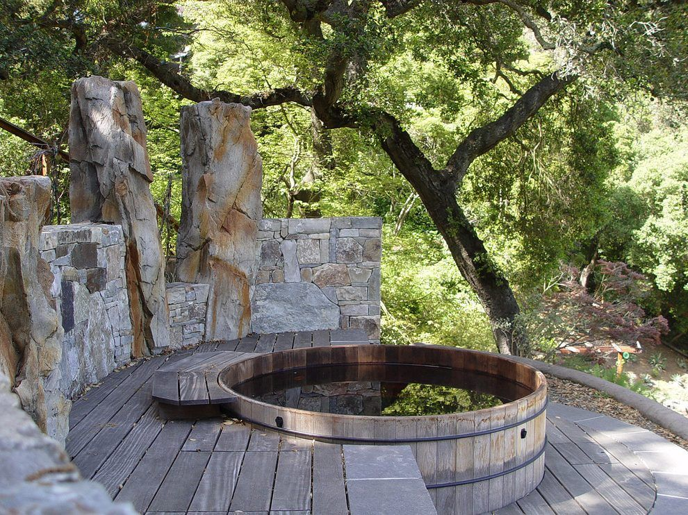 Built In Hot Tubs Designs Deck Rustic With Oak Trees Hot