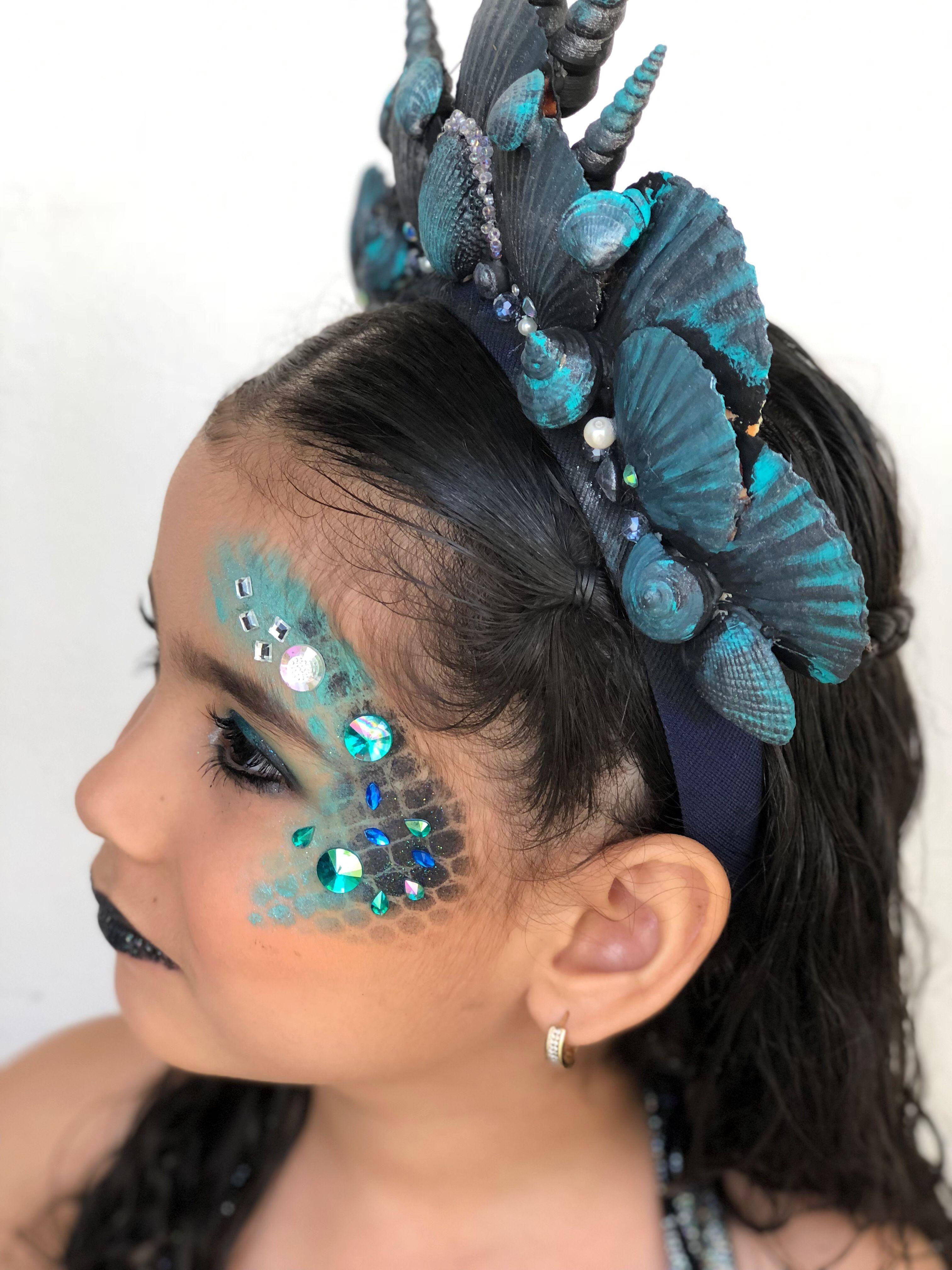 Deguisement Sirene Fille Costume De Sirene Diy Maquillage Et Coiffure Deguisement La In 2020 Mermaid Makeup Halloween Girls Mermaid Costume Mermaid Costume Diy