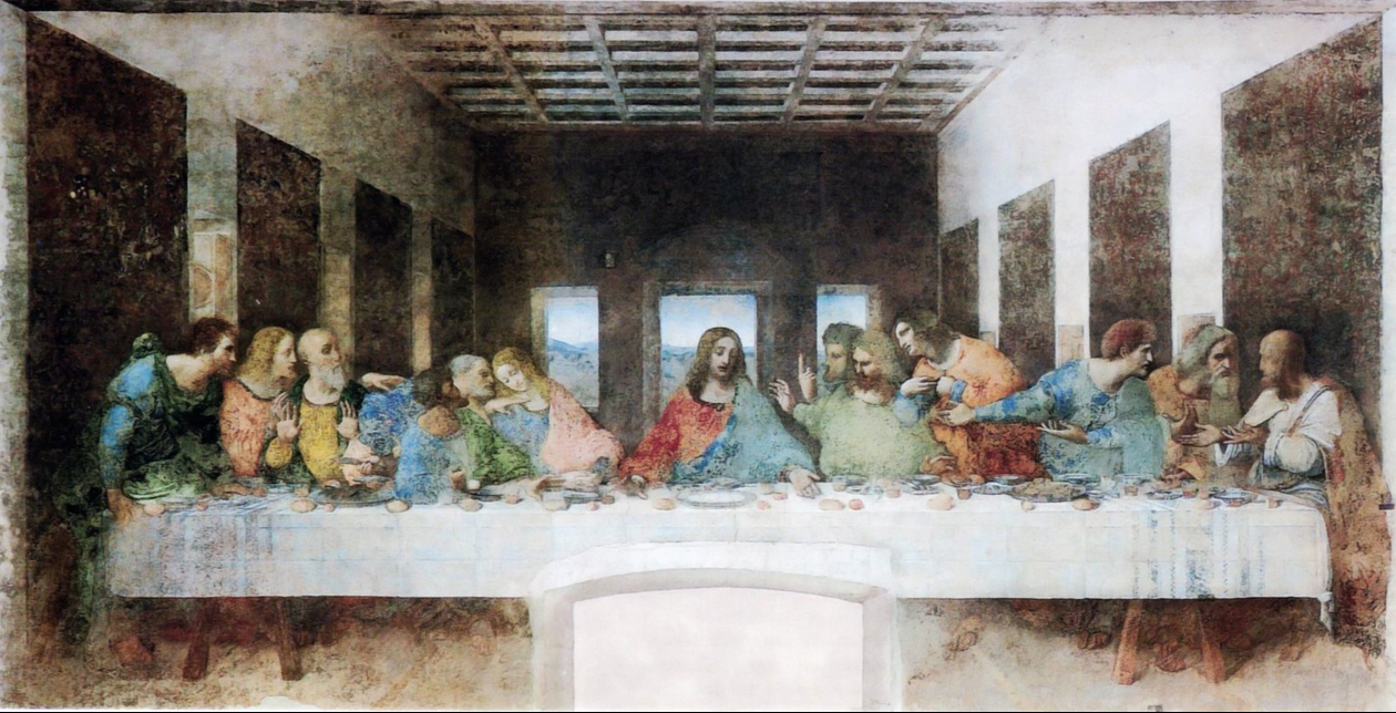 Above: after cleaning  Facts: The subject: The Last Supper Painted by: Leonardo da Vinci Where: Milan, refectory of the Santa Maria delle Grazie convent When: From 1494 to 1498