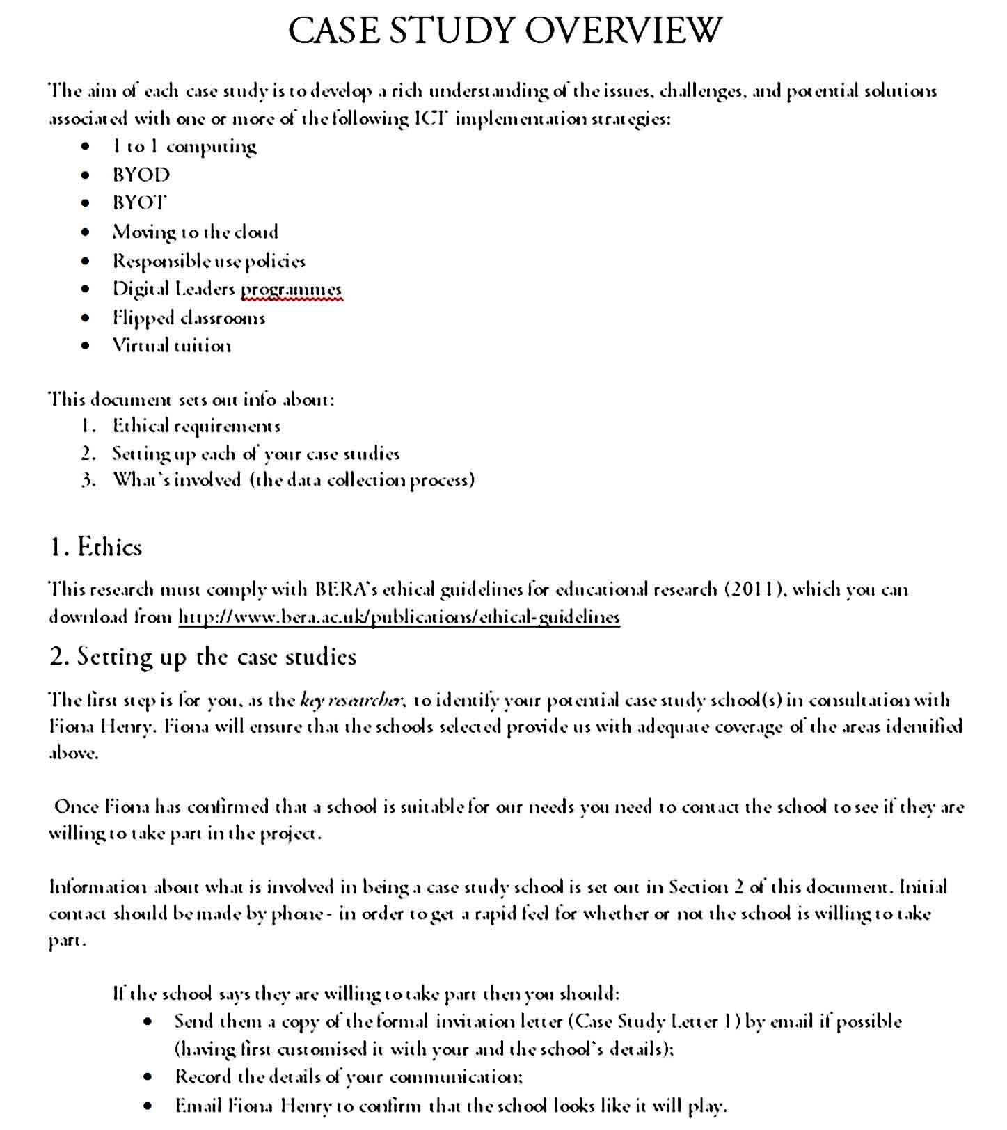 Sample Case Study Format Case Study Format Case Study Case Study Template