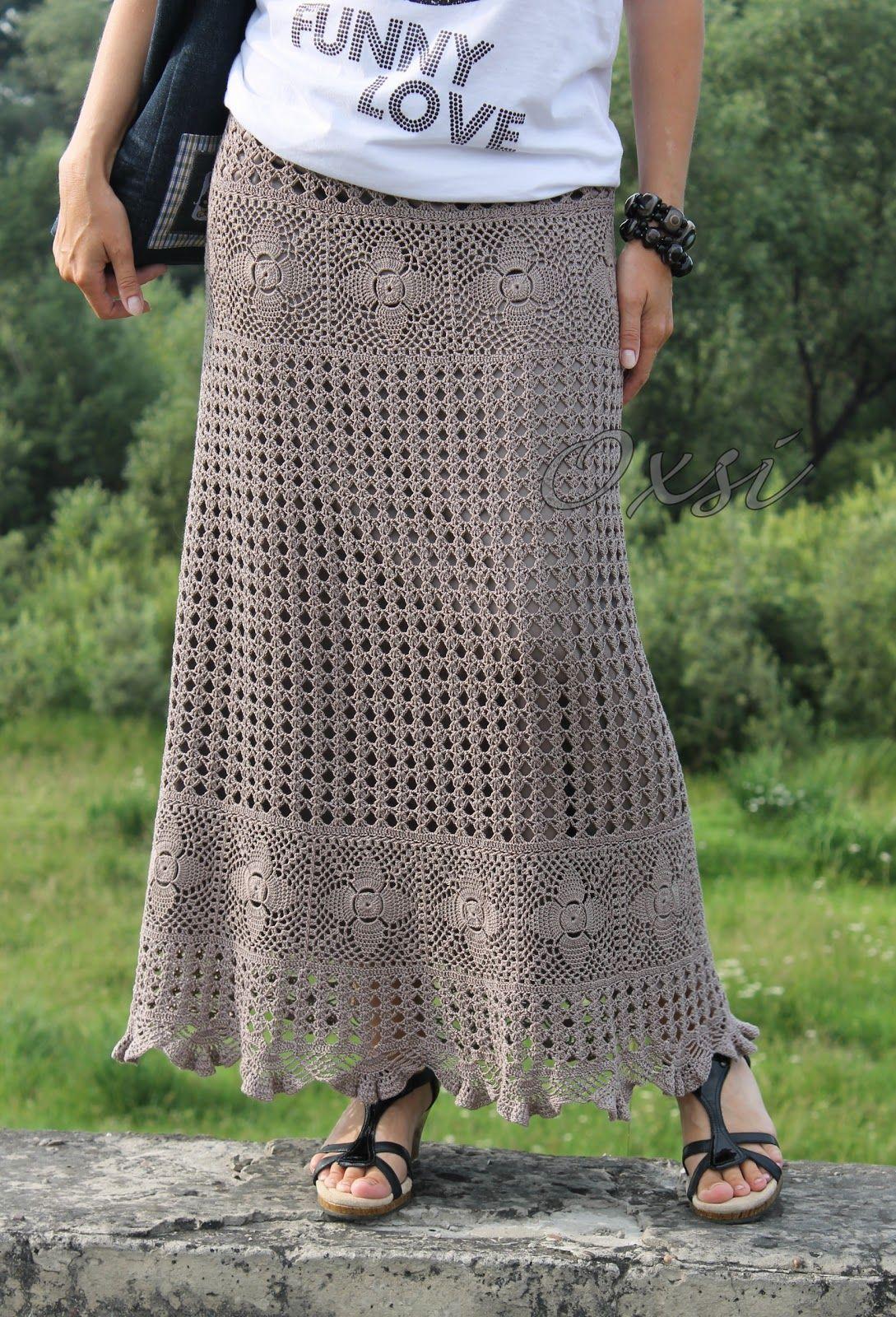 Длинные вязаные юбки для полных фото