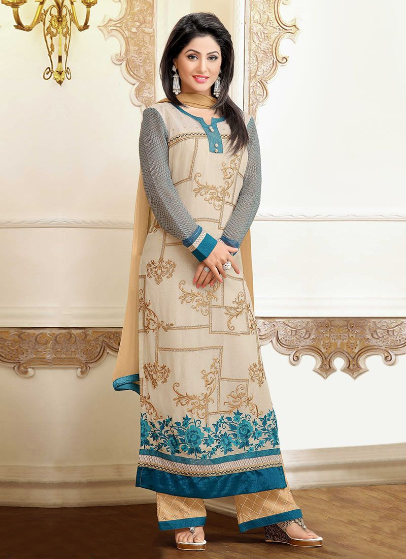 Beige Hina Khan Embroidered Palazzo Suit My Kinda Girl In 2019