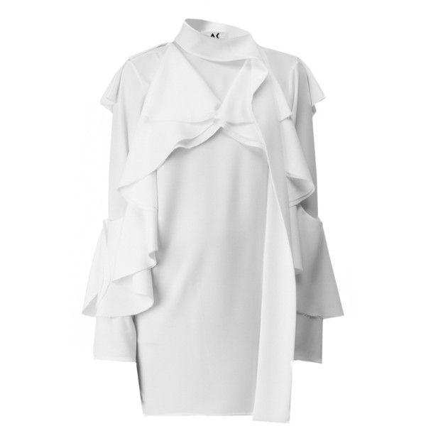 Atelier Kikala Mini Ruffle Dress (5 875 UAH) ❤ liked on Polyvore featuring dresses, flutter-sleeve dress, mock neck long sleeve dress, white long-sleeve dresses, long sleeve ruffle dress and long sleeve dresses