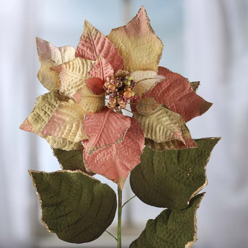 Sparkling Green And Rose Artificial Poinsettia Stem Winter Holiday Crafts Holiday Floral Poinsettia