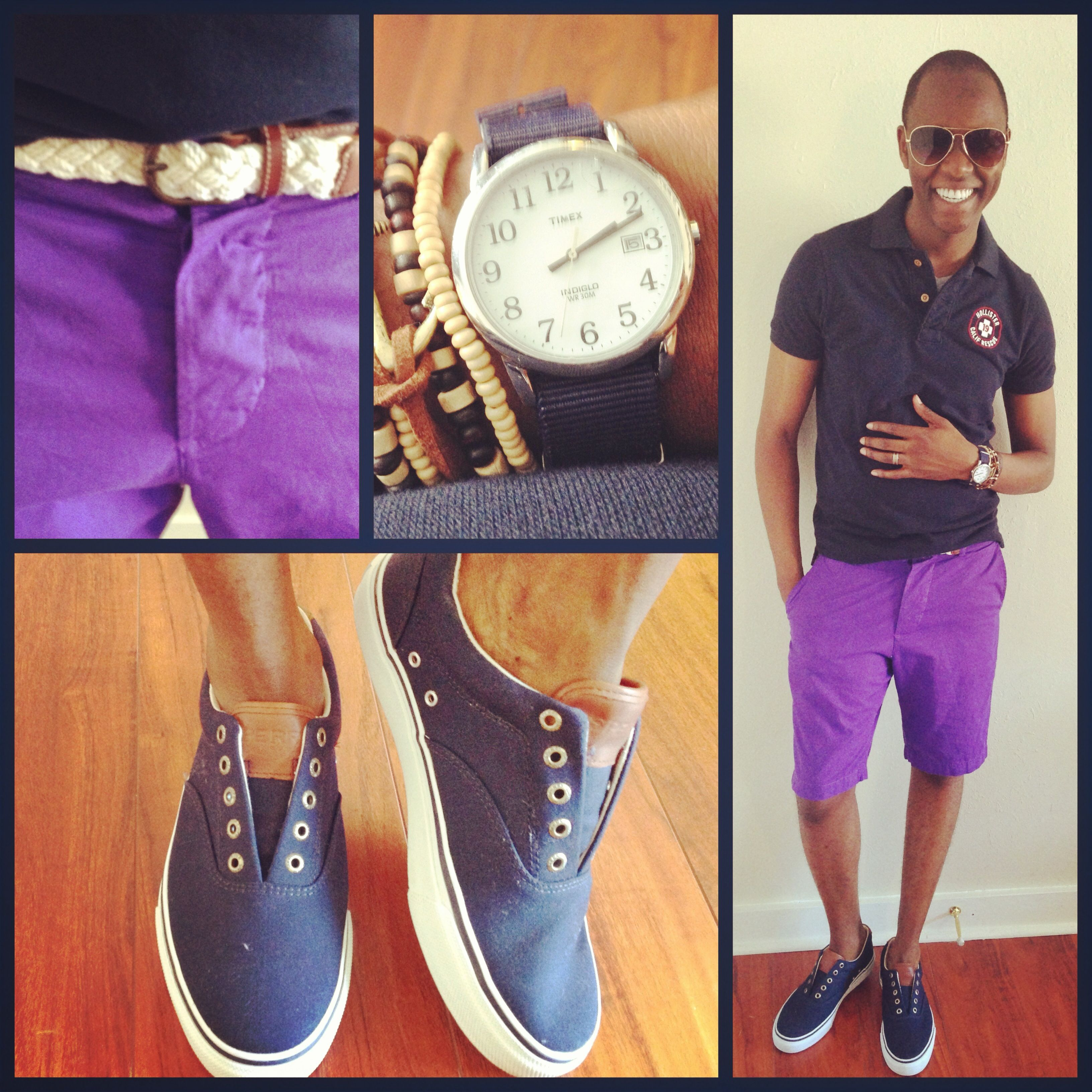I wish that I could be eleven again   Polo - #Hollister   Belt - #Jcrew  Shorts - #HandM  Shoes - #SperryTopsider  Watch - #Timex  Glasses - #TopMan