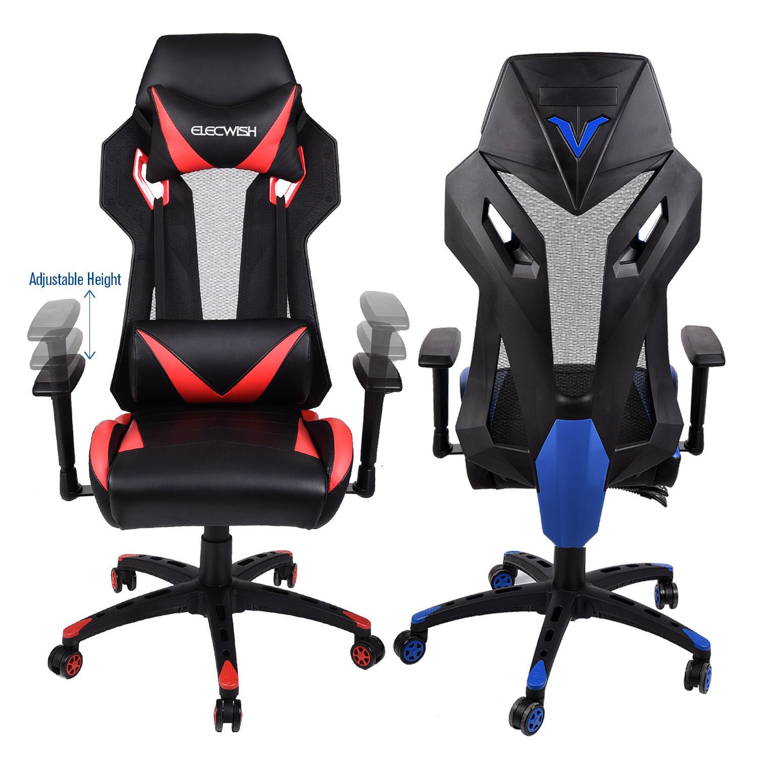 Video Chair Video Gaming Chair Racing Pu Seat Adjustable Mesh Highback Home