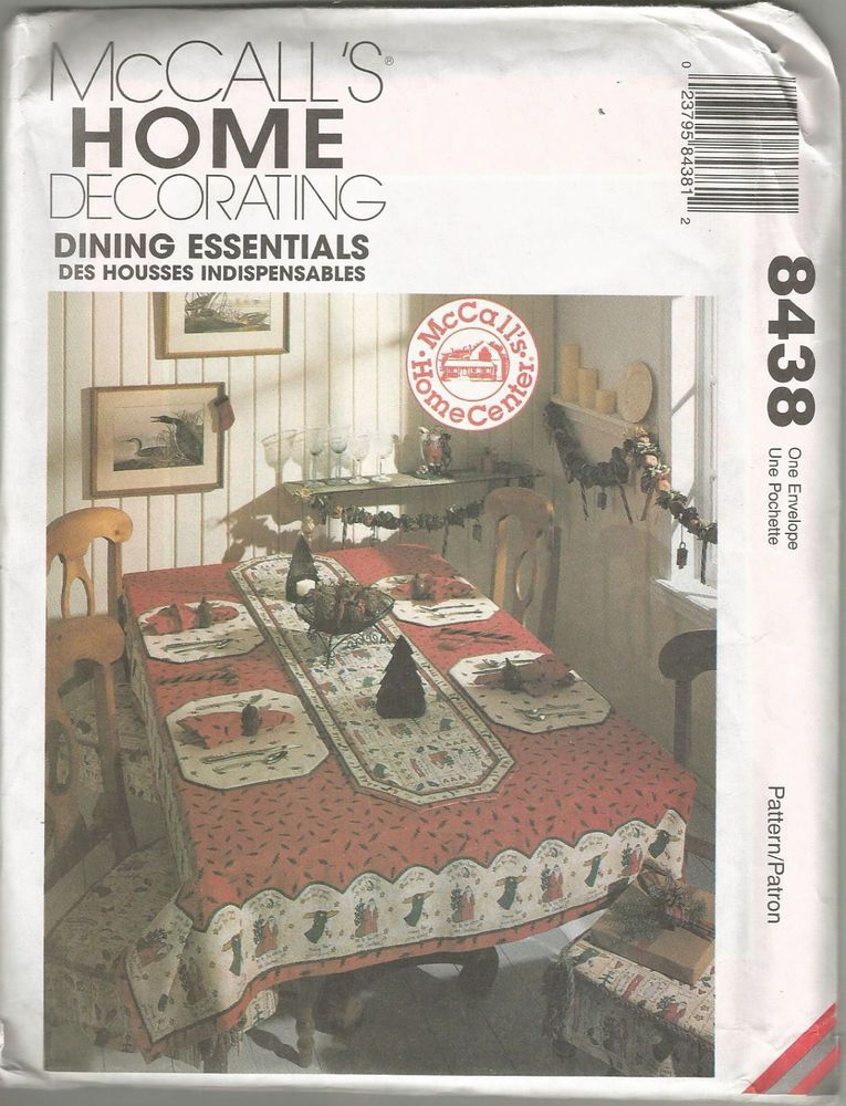 Mccallu0027s 8438 Holiday Dining Sewing Pattern Home Decor Tablecloths Placemats