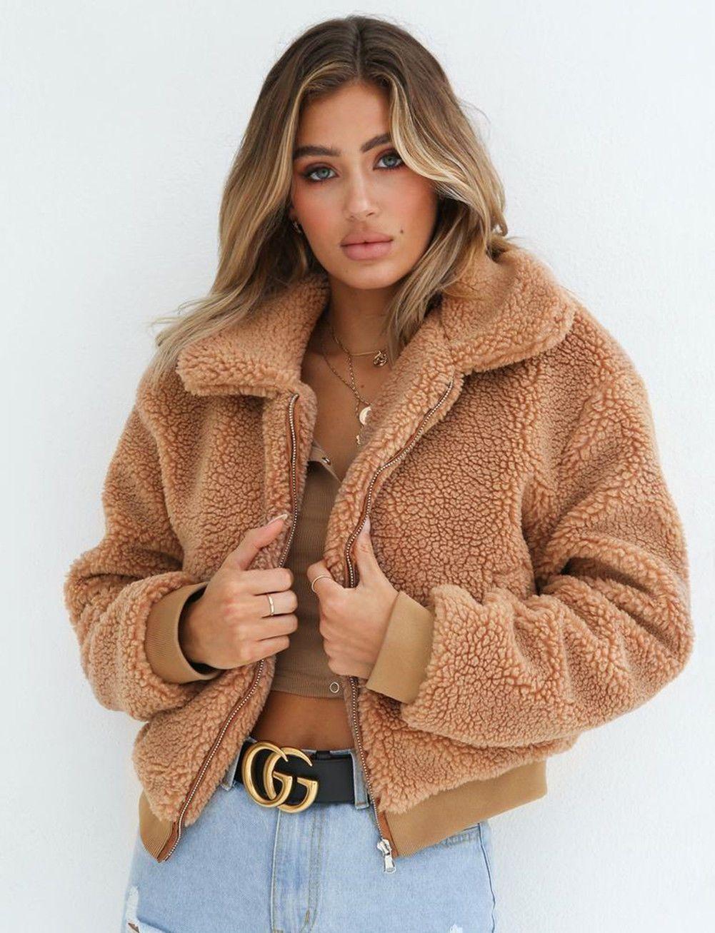 2019 Winter Arrival Women Cotton Fluffy Long Sleeve Jacket Ladies Warm Outerwear Cardigan Coat Warm Outerwear Jackets For Women Fluffy Jacket [ 1307 x 1001 Pixel ]