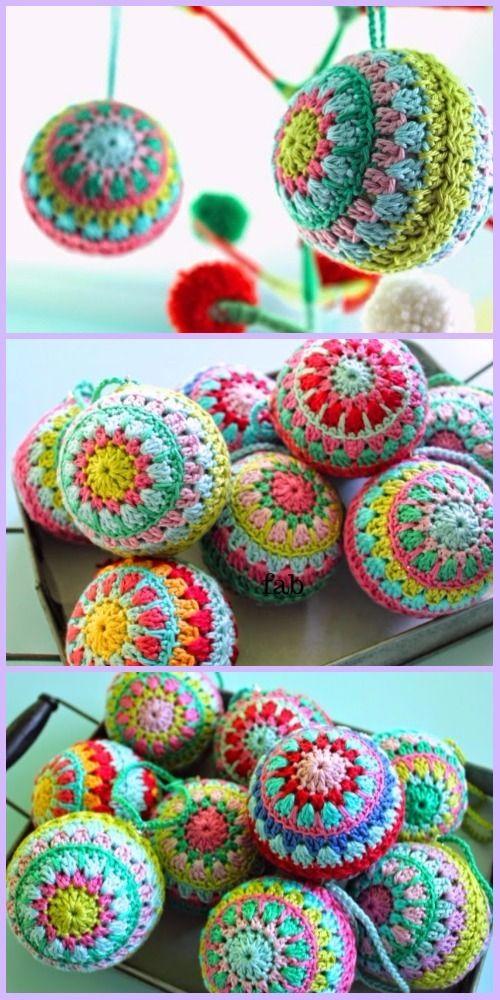 Crochet Christmas Bauble Ornament Free Patterns | Christmas ...