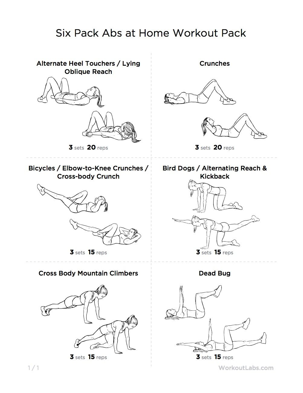 printable workout pack with exercise illustrations for men and women [ 1003 x 1298 Pixel ]