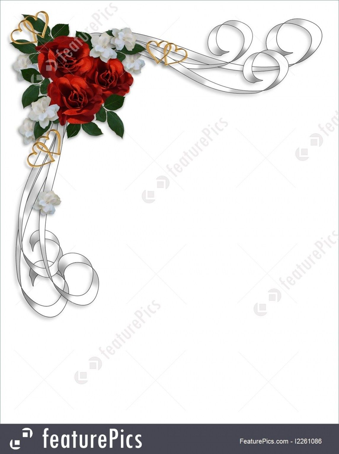 Wedding Invitation Red Roses Border Ilration Pertaining To Rose