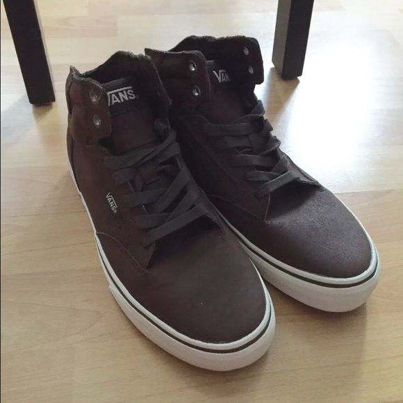 e33832b2479bb4 Vans High Top Sneakers BRAND NEW!! NEVER WORN!! Vans leather high tops.  Super cute for a girl or a guy. Men s size-7.5