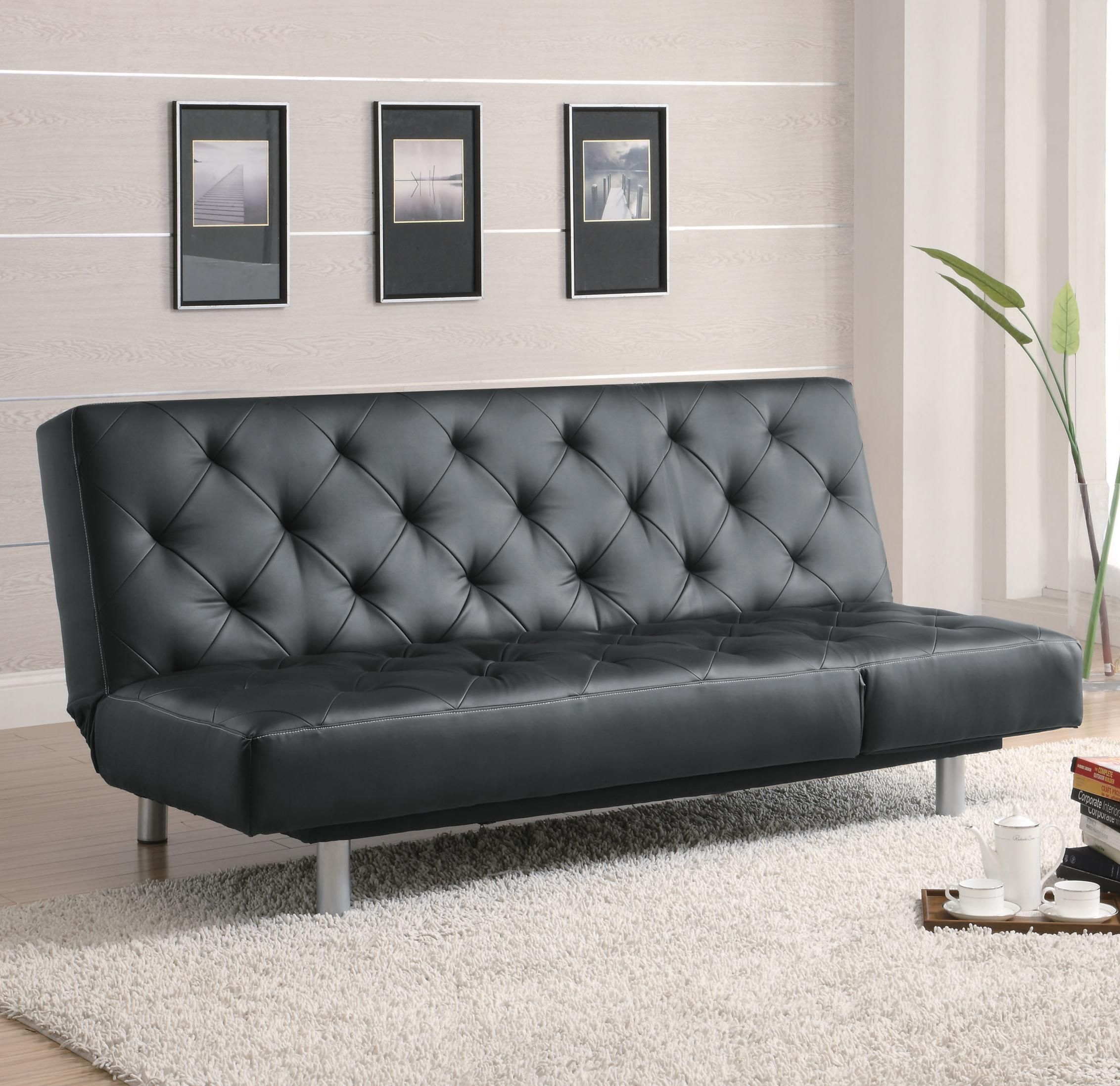 Futons Black Vinyl Tufted Sofa Bed
