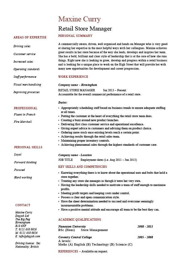 Resume For Retail Jobs Professional Resume Retail Store Manager  The Best Estimate .