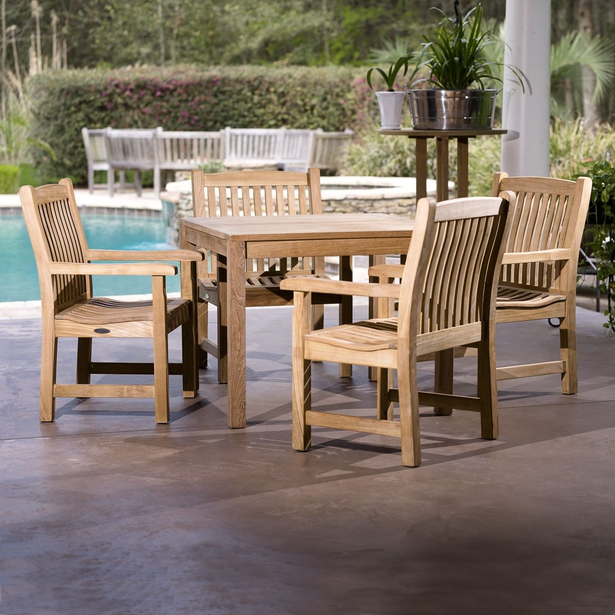Square Teak Table & 4 Chairs