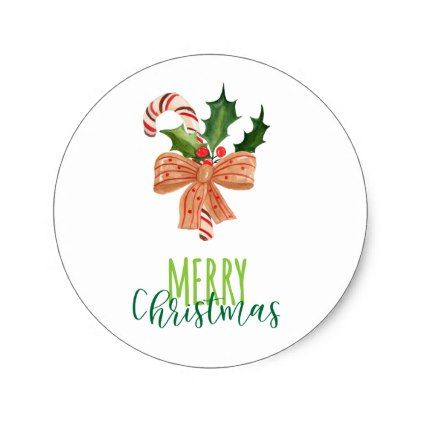 Merry Christmas Watercolor Candy Cane On White Classic Round