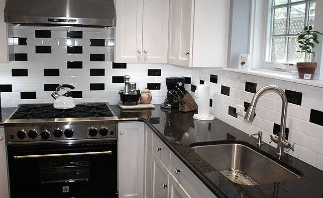 Black and White Backsplash Tile Photos | Black, white ...