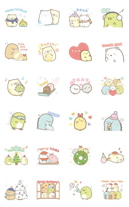 Sumikko Gurashi Winter Stickers Sticker For Line Whatsapp Android Iphone Ios Cute Stickers Cute Laptop Stickers Cute Bear Drawings