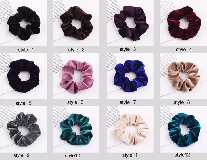 Pack 2 Black glitter hair scrunchies fabric shiny elastic bobbles band bun