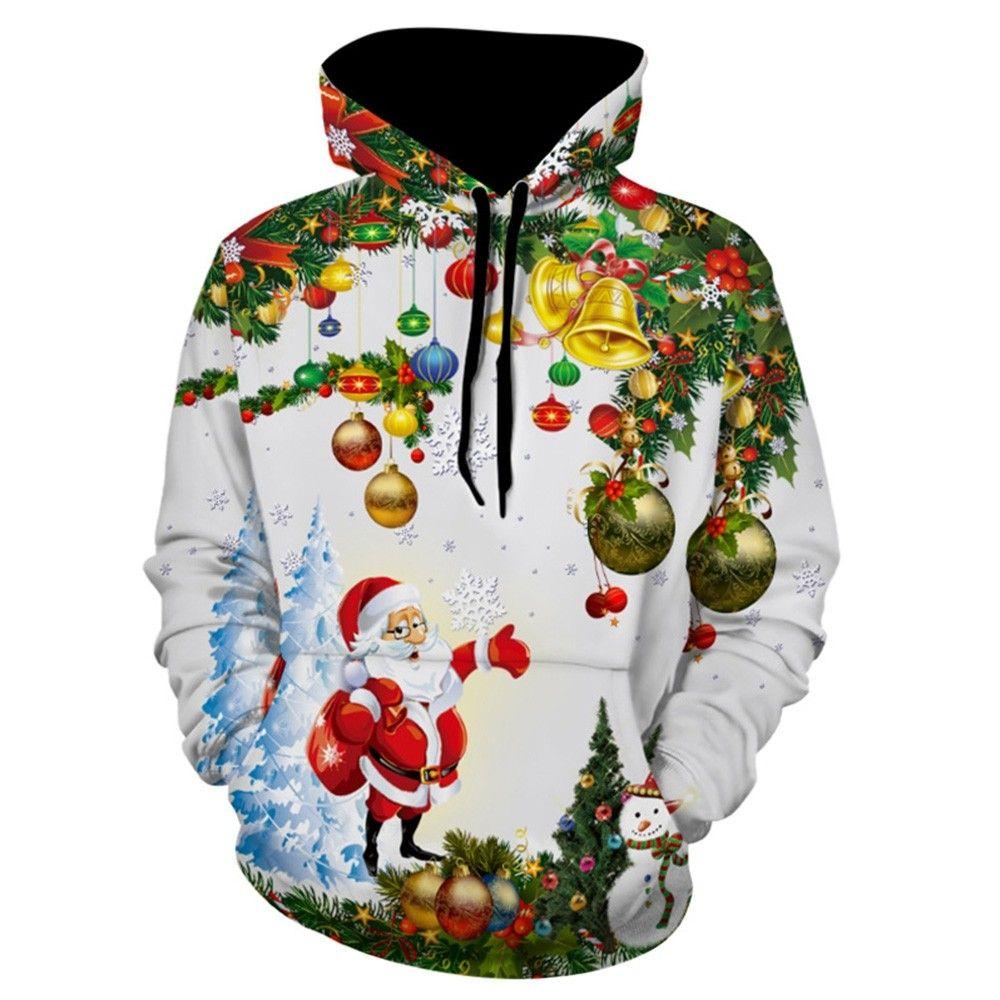 Christmas Tree Santa Jingle Bells Christmas Hoodie White