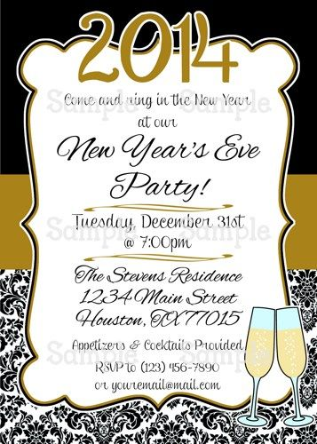 Printable Happy New Year Black  Gold Personalize Party Invitation