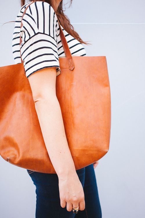 Cognac leather tote bag – New trendy bags models photo blog