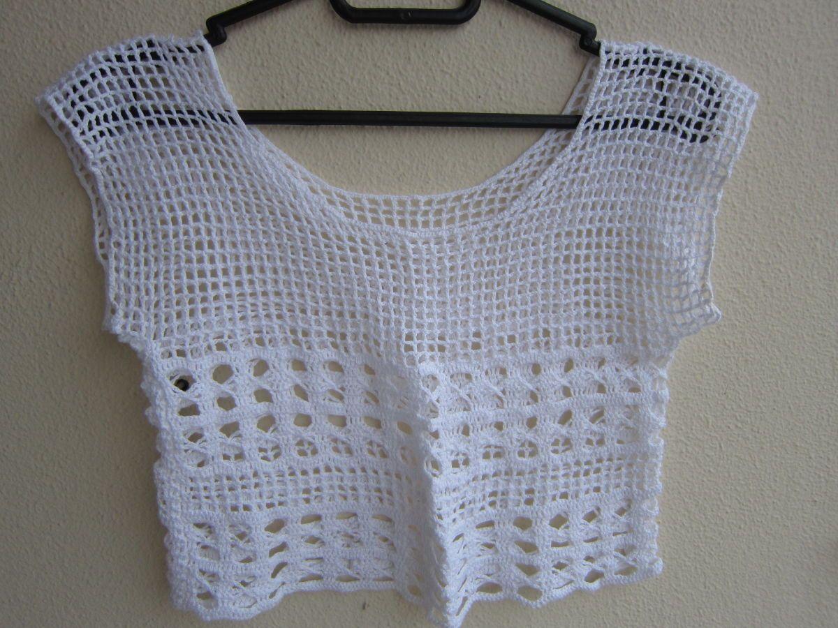 blusinha de crochet cropped - blusas