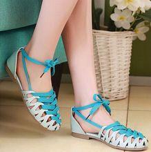 ENMAYER Cross-Strap Sandals Bohemian Size 34-43 Fashion Cutouts flats Women Sandals Summer Shoes Beach shoes women Casual Girl(China (Mainland))