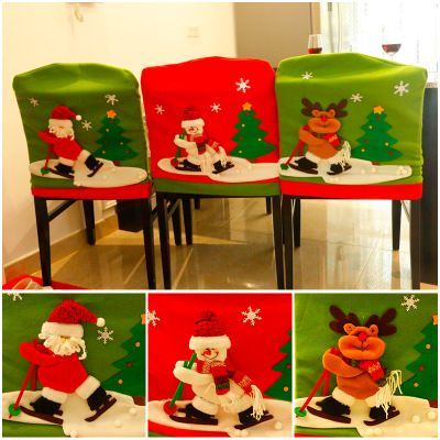 NEW Set of 4 Christmas Santa Claus Chair Covers