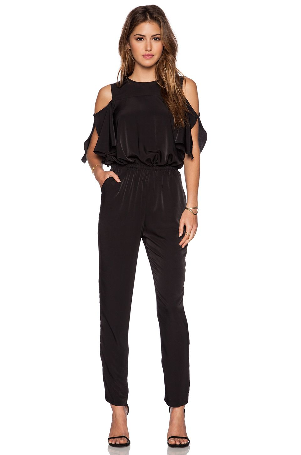 1665cef8336 WAYF cold shoulder jumpsuit  REVOLVEclothing