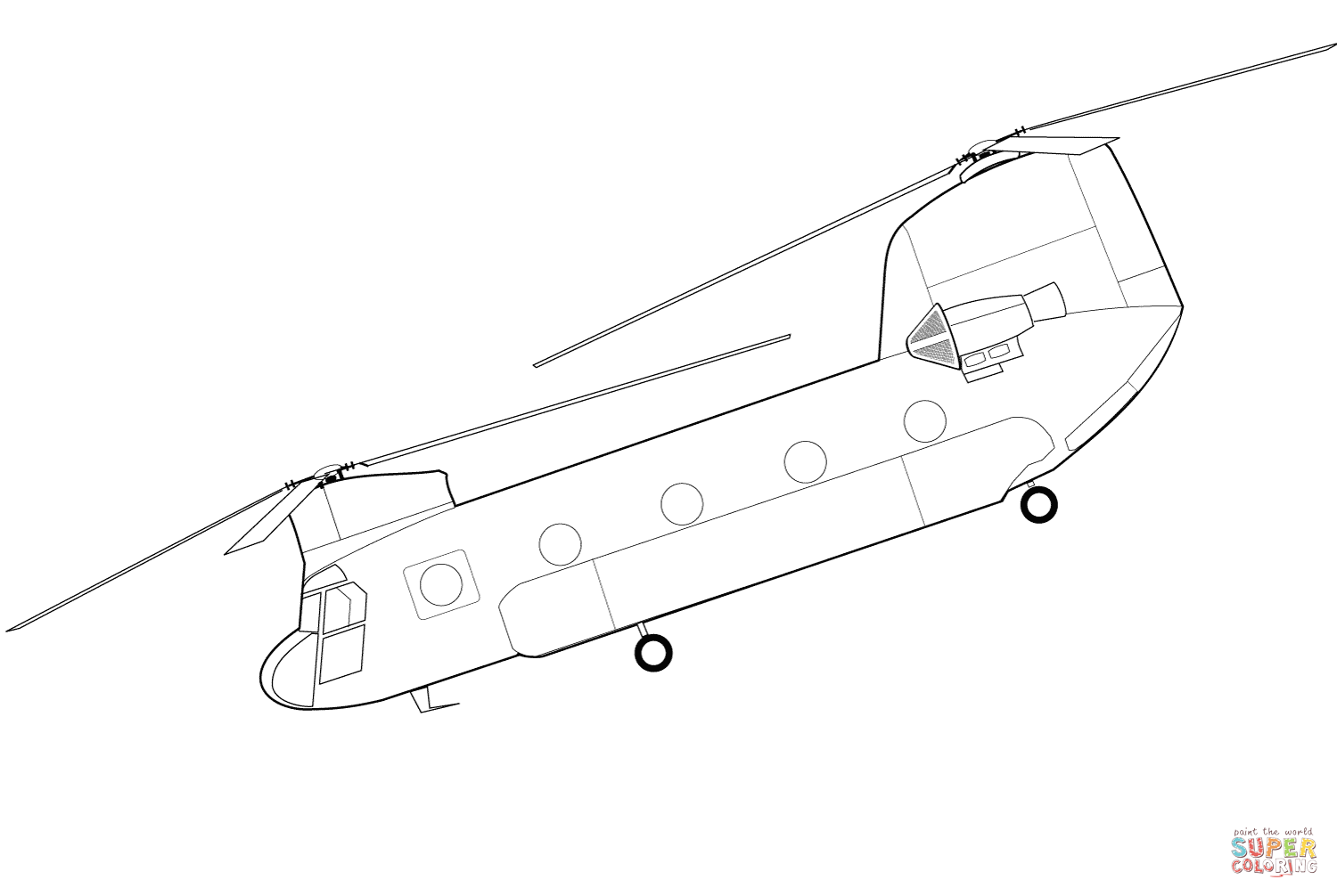 Helicopter Printables Ch 47 Chinook Helicopter Coloring Page