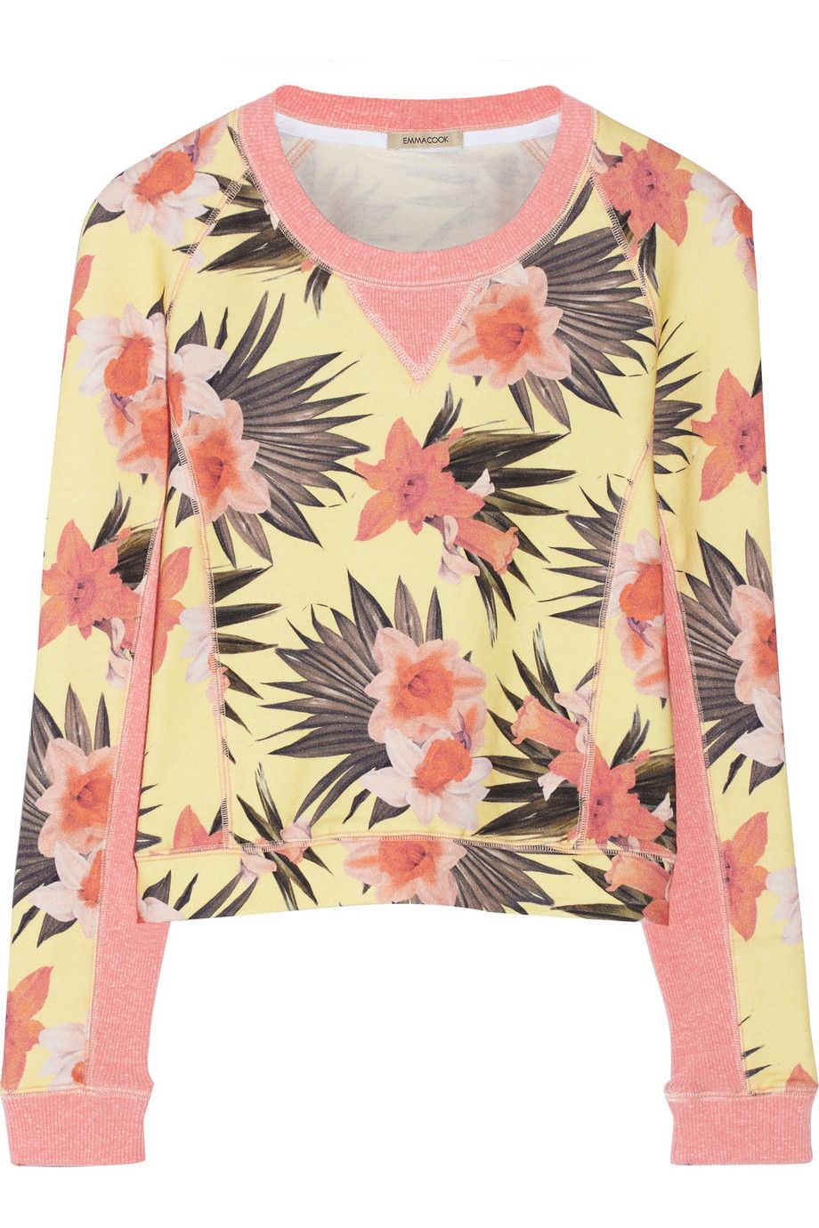 Emma CookCropped daffodil-print cotton-terry sweatshirt
