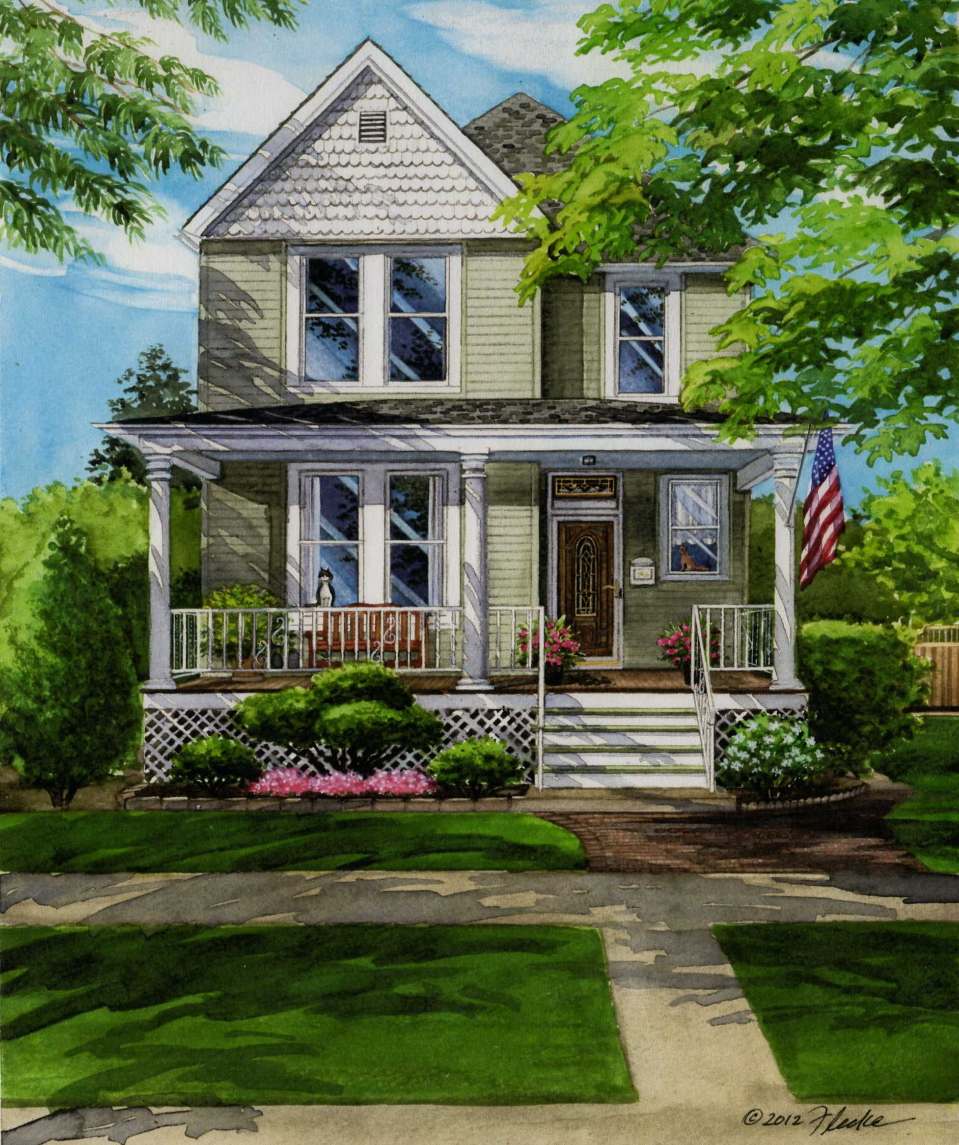 11 X 14 Watercolor Portrait Of Two-story Frame Home In
