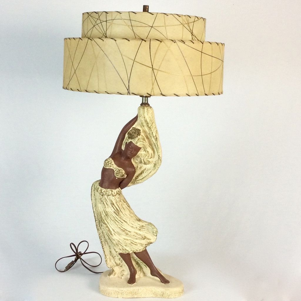 1950s Hawaiian Hula Dancer Lamp With Original Fiberglass Lampshade Lamp Vintage Lighting Hawaiian Furniture