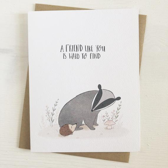 A Friend Like You Friendship Card Best Friend Card Card For Friend Gift For Friend Badger Card Just Because Thinking Of You Card Friendship Cards Cards For Friends Greeting Card Set