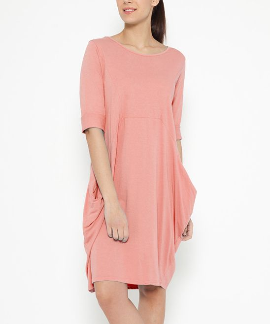 Burgundy Front-Pocket Midi Dress