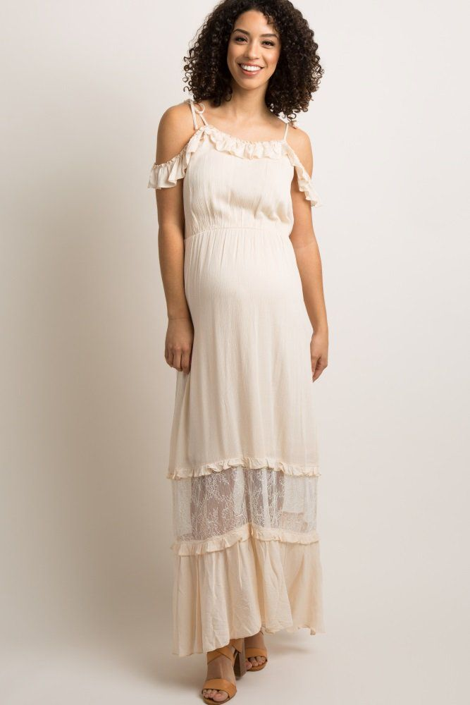 63f2a880189b3 Cream Lace Panel Open Shoulder Maternity Maxi Dress | Ideas ...