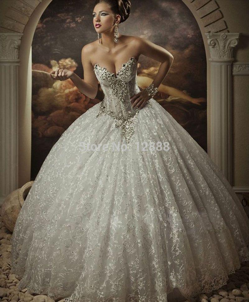 Hot Sell Cheap Corset Sweetheart Basque Ball Gown Wedding Dress ...