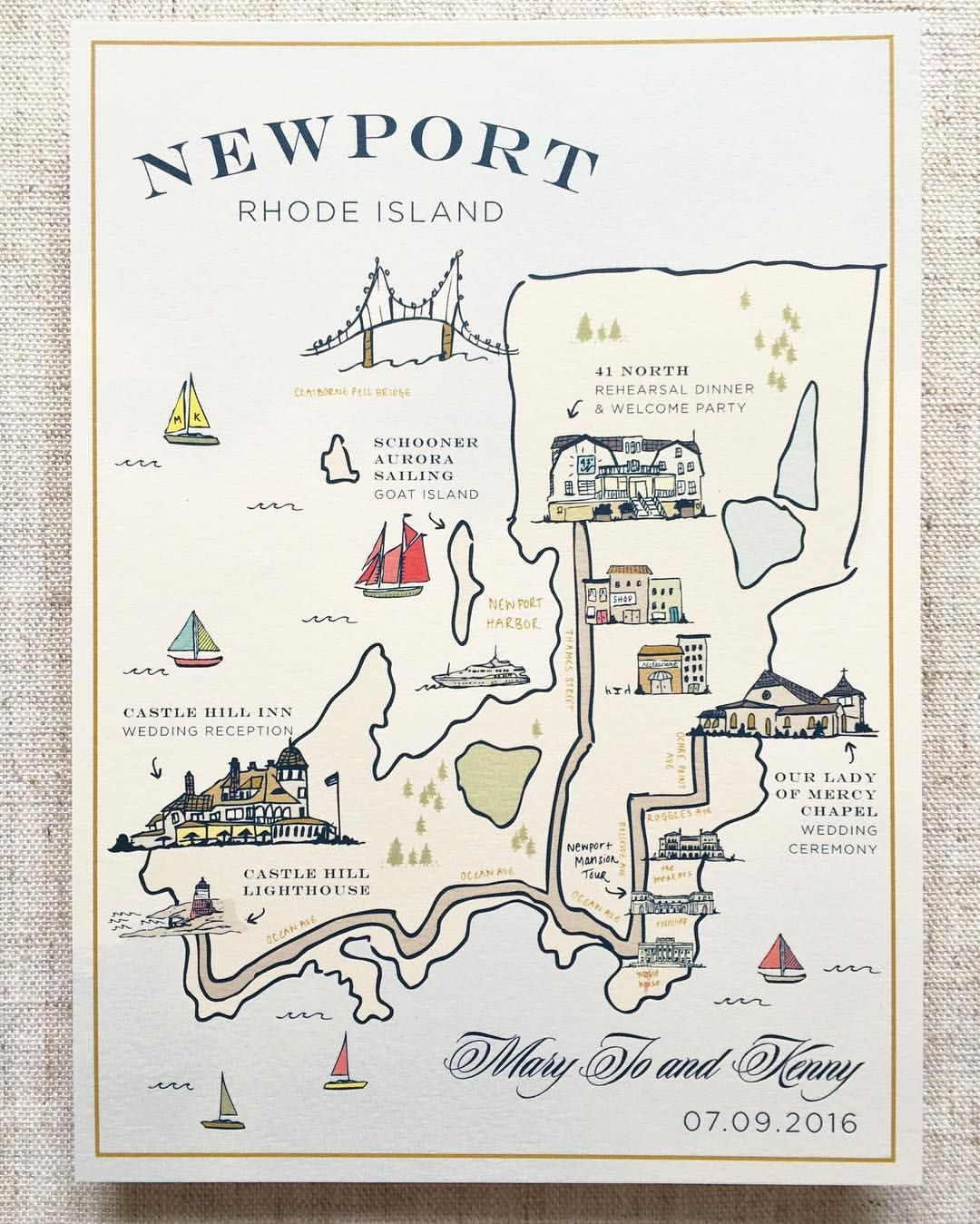 Rhode Island Wedding Invitation Printed: Custom Illustrated Map, Wedding Map, Illustration, Welcome