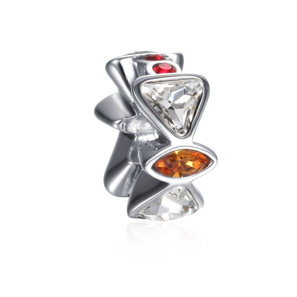 Soufeel Red And White Shape In Trangle Charm 925 Sterling Silver