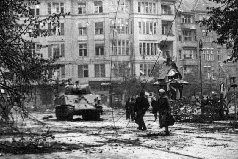 "1945, May, Berlin. M4 ""Sherman"" probably from Kampfgruppe ""Berlin"". Probably on the right turret side put german cross. This group include two M4 ""Sherman"" tank (possibly from Kummersdorf proving ground)."