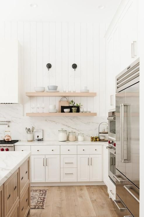 Vertical Shiplap Walls In A Transitional Kitchen Above