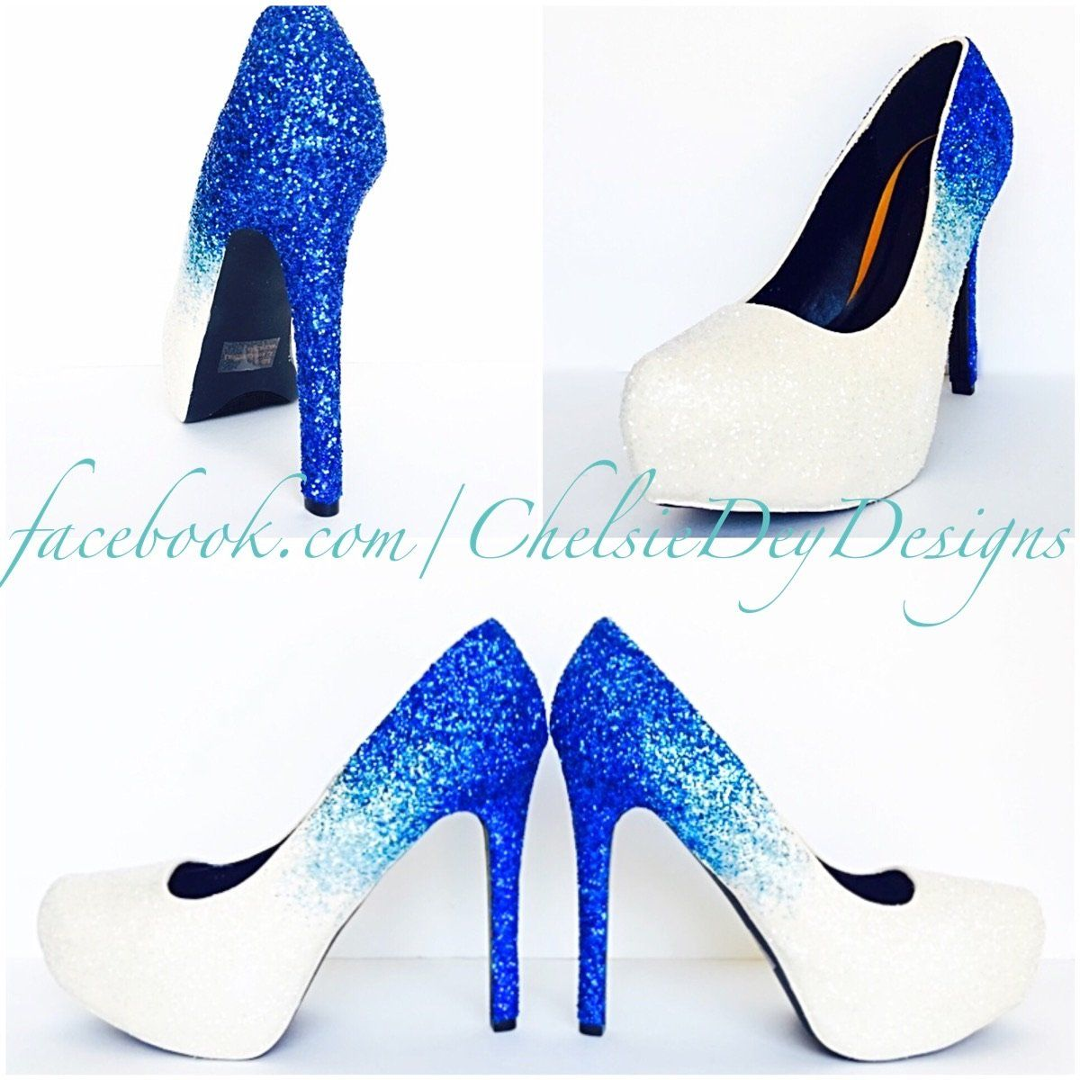 e90a4b3e4c Aqua Ombre Glitter High Heels, Something Blue White Wedding Shoes, Sparkly  Royal Blue Pumps
