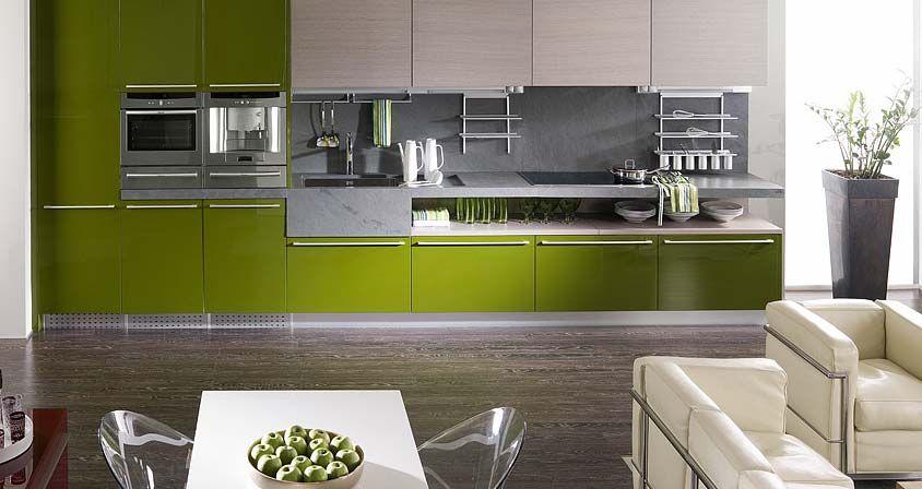 Muebles de cocina. G-500 acabado Musgo Brillo / G-645 Roble Niebla ...