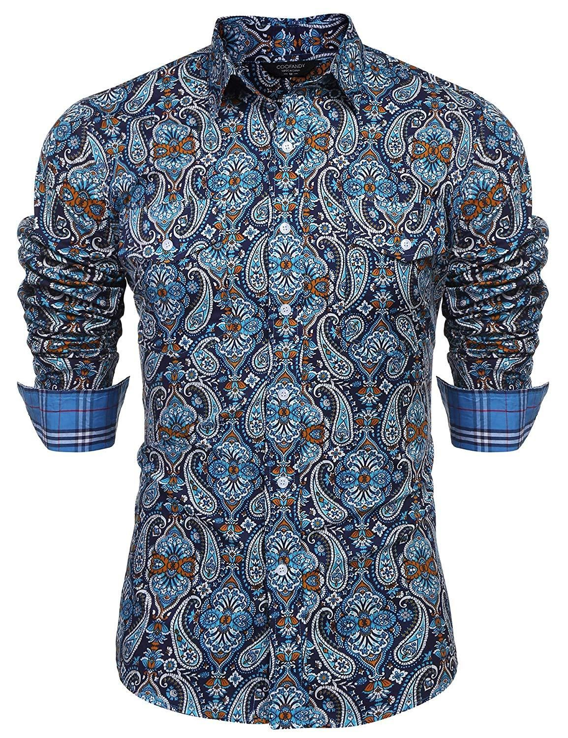 39e66a15a494 COOFANDY Men's Floral Dress Shirt Slim Fit Casual Paisley Printed ...